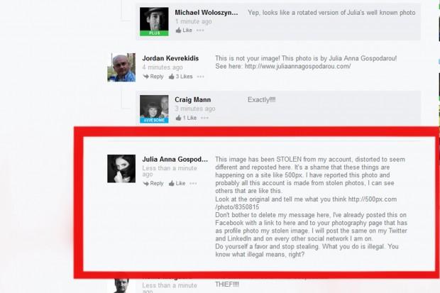 Kommentar auf 500px einer Fotografin als Reaktion auf einen Fotoklau