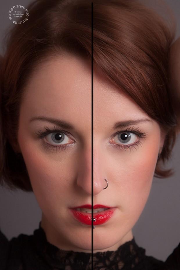 Die Gesichtssymetrie. Selbst bei sehr symetrischen Gesichtszügen unterscheiden sich die Gesichtshälften leicht voneinander. (Beispielfoto der linke Nasenrücken ist etwas ausgeprägter als der rechte)     Die Gesichtssymetrie. Selbst bei sehr symetrischen Gesichtszügen unterscheiden sich die Gesichtshälften leicht voneinander. (Beispielfoto der linke Nasenrücken ist etwas ausgeprägter als der rechte)