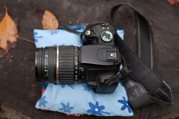 Kirschkernkissen und Kamera im Einsatz (von Oben)