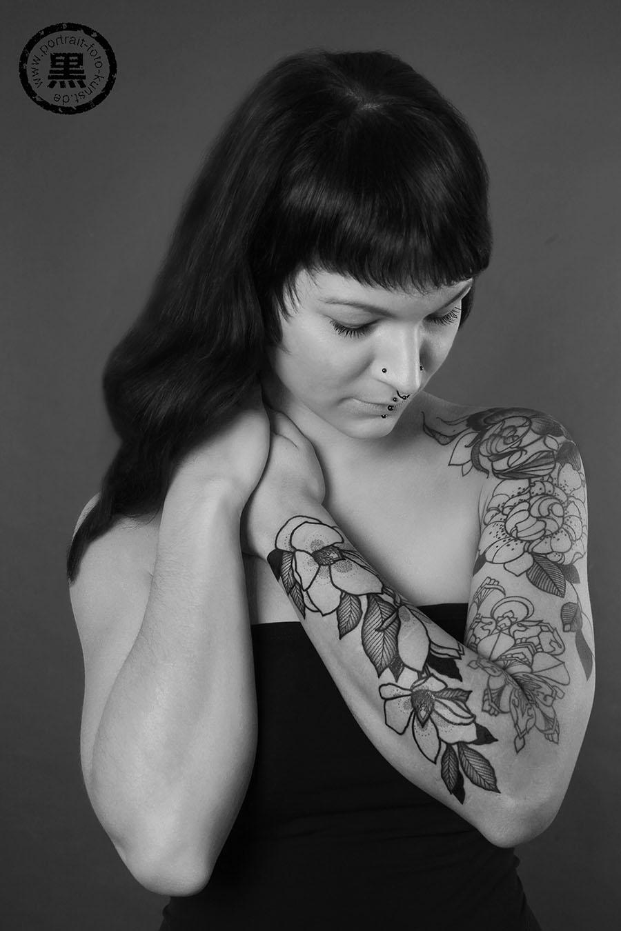 Tattoo Portraits In Schwarz Weiß Portrait Foto Kunst